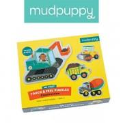 Mudpuppy Puzzle sensoryczne Pojazdy na budowie 1+ (na roczek) - pierwsze puzzle, MP46345