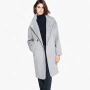 Manteau long, col montant en laine mélangée