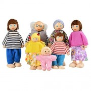 Loveje Wooden Family Dolls Baby Kids 7 Piece Happy Doll Family Mini Play Toys Set, Birthday Gift for Kids Girls