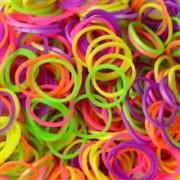 Elastice Rainbow Loom - Neon Mix - 300 Buc.