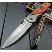 Сгъваем нож с дървени чирени и клипс за закачане на колан - Brow