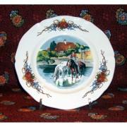 """Lunéville - Sarreguemines Assiette dessert """"Les chevaux"""" Obernai"""