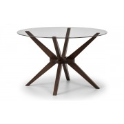 Chelsea Round Glass Top Dining Table (Solid Beech in Walnut Finish With Clear Glass) - Chelsea Dining Table Only