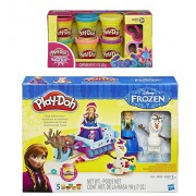 Play-Doh Sled Adventure Playset Featuring Disneys Frozen Elsa Anna Sven and Olaf Plus Extra Play-Doh Sparkle Compound Collection Compound Net WT 12 oz Bundle