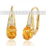 Diamantové zlaté náušnice s diamanty a oranžovým přírodním citrínem 585/2,85 gr