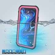 10m IP68 Waterproof Shock/Dirt/Snow Casing for iPhone XR 6.1 inch with a Kickstand - Black / Rose