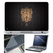 FineArts Laptop Skin 15.6 Inch With Key Guard & Screen Protector - Brown Logo on Black Wooden