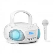 Auna Roadie Sing CD Radiocasetera Radio FM Espectáculo de luces Reproductor de CD Micrófono blanco (MG3-Roadie 2.0 WH)