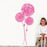 Wall Dreams Pink Large Flower Bunch With Small Big Flowers With Ladybugs Round For Girls Room Stickers(50cmX70cm)