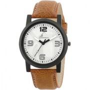 Jack Klein Stylish White Dial Brown Strap Quartz Analogue Wrist Watch