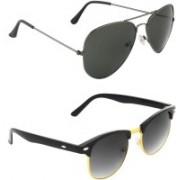Zyaden Aviator, Clubmaster Sunglasses(Black, Green)