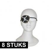 Merkloos 8x Piraten ooglapjes deluxe verkleed accessoire