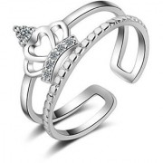 Princess Crown Sterling Silver Cubic Zirconia Crystal Adjustable Ring For Women Girls (Rosegold)