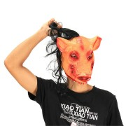 Halloween Party Home Decoration Pig Head Mask With Hair Cosplay Costume Toys Children Gift
