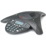 Polycom SoundStation2 (analog) conference phone with display. Non-expandable. Includes 220V-240V AC power/telco module, power cord with CEE7/7 plug, 6.4m console cable, 2.8m telco cable.