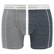 Boxershorts 2-pack Stripes Wit & Blauw