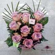 Cos flori 9 Trandafiri Deep Purple CF050
