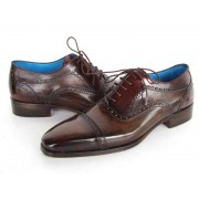 Paul Parkman Cap Toe Hand Painted Leather Oxford Shoes Anthracite Brown 024-ANTBRW