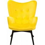 Kare Design Fauteuil Vicky - Fluweel Geel - Zwarte Houten Poten