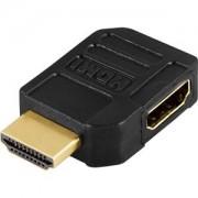 . HDMI-adapter, 19-pin hona till hane, vinklad, guldpläterade kontakter