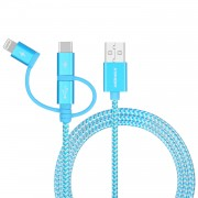 MOMAX MFI 3-in- 1 Type-C + Lightning 8pin + Micro USB 1M Data Charge Cable - Blue
