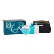 Bvlgari Aqva Pour Homme Marine set cadou apa de toaleta 100 ml + 75 ml balsam after shave + 75 ml gel de duș + geantă cosmetică pentru bărbați