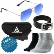 Adam Jones Gradient Blue UV Protected Unisex Aviator Sunglasses with Free 3 Pair Sports Towel Socks Black Leather Belt