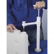 PTFE Fass-Handpumpe mit Auslaufbogen Eintauchtiefe 950 mm, 400 ml/Hub