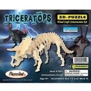 Puzzled Triceratops 3D Natural Wood Puzzle