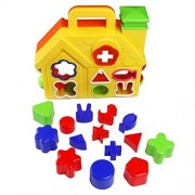 Jerryvon Kids Toys Shape Sorter House Color Sorting Learning Shapes Baby Educational Preschool Puzzles with 14 Shaped Blocks