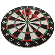 uniqe NEW BEST DOUBLE SIDE DART BOARD GAME SIZE 15 INCHES WITH 6 FREE DARTS