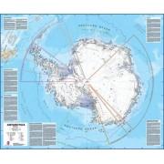 Prikbord Wandkaart Antarctica - Zuidpool 120 x 100 cm | Maps International