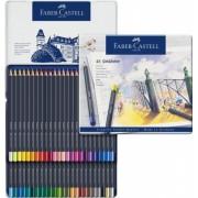 Set creioane colorate 48 culori Goldfaber cutie metal Faber-Castell