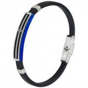Sullery Christmas Gift Jesus Cross Wristb With Stainless Steel Foldover Clasp Black & Blue Silicon Bracelet