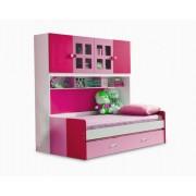 Pat Mercur din MDF cu pat suplimentar sau sertar depozitare, dulap 4 usi si etajera pentru camera copii -801R