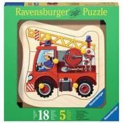 Детски дървен пъзел 5 елемента - Пожарникарска кола, Ravensburger, 7003227