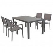 Milani Home DEXTER - set tavolo da giardino allungabile 160/240 x 90 compreso di 10 poltrone in alluminio