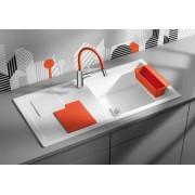 BLANCO SITY XL 6 S gránit mosogató - narancs tartozékok - VIU-S króm csaptelep szett - fehér