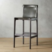 "Burano Charcoal Grey Leather Sling Bar Stool 30"""" by CB2"