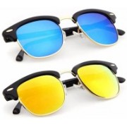 teenager Clubmaster Sunglasses(Blue, Yellow)