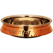 Taluka (9 x 2 Inches approx) Handmade Best Quality Induction Friendly Steel Base Copper Serving Cooking Dish Plate Capacity -2500 ML Weight - 750 Gram Dinner Restaurant Hotel Home Gift item Serving Dish