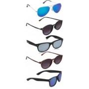 David Martin Round, Aviator, Oval Sunglasses(Grey, Blue, Silver)