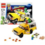 Lego Year 2010 Disney Pixar Toy Story 3 Series 8 Inch Long Vehicle Set # 7598 - PIZZA PLANET TRUCK RESCUE with Pizza Flinger 6 Pizzas and Buzz Lightyear Rex Hamm and Alien Minifigures (Total Piece: 225)