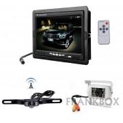 """Kit retromarcia auto camper Monitor 7"""" LCD con 2 telecamere: wireless e via cavo"""