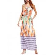 Printed Elastic Waist Strap Dress