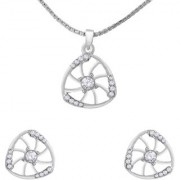 Mahi Crystal Curvy Triangle Rhodium Plated Pendant Set for Women NL1102710R