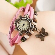 PInk Butterfly Bracelet Analog Watch For Women And Girls 6 MONTH WARRANTY