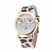 Cute dibujos animados creativos de estilo Leopardo de Oro Barba Watch Watch Cat Face gafas
