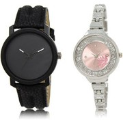 The Shopoholic Black Pink Combo Best Combo Pack Black And Pink Dial Analog Watch For Boys And Girls Watchs For Men Stylish