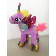 Unicornio Pony Pegaso De Peluche Arcoiris 30 Cm Morado